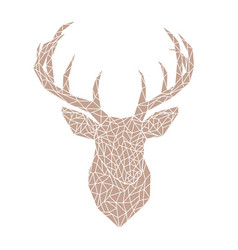 polygonal brown head of a wild deer vector image vector image