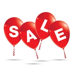 Red balloons with sale isolated on white vector image