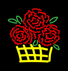 roses in basket sign 3211 vector image