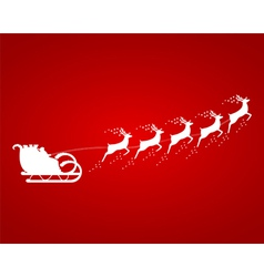 Santa claus rides in a sleigh in harness on the re vector