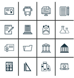 Set of 16 school icons includes document case vector