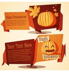 Set of autumn holidays banners - Halloween and vector image vector image