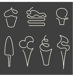Set of one line sweets vector image vector image