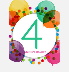 Template 4 years anniversary congratulations vector