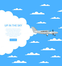Up in the sky poster with propeller airplane vector