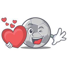 With heart football character cartoon style vector