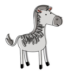 Zebra cartoon in watercolor silhouette with thin vector