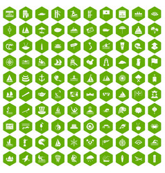 100 sailing vessel icons hexagon green vector