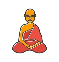 Buddhist monk icon flat style vector