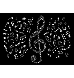 Black and white treble clef with musical notes vector