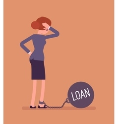 Businesswoman chained with a weight Loan vector image