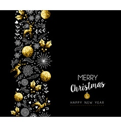Christmas and New Year gold pattern decoration vector image