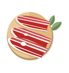 Slices of spanish dry-cured ham on wooden desk vector