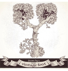 Fable forest hand drawn by a vintage font - y vector