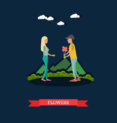 Flowers for girlfriend in flat vector