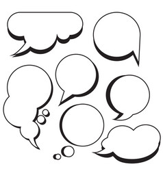 Comic bubbles and clouds cartoon text boxes set vector