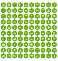 100 sailing vessel icons hexagon green vector
