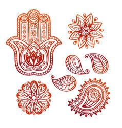 Mehndi tattoo doodle elements with hamsa hand vector
