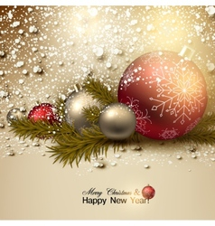 Beautiful christmas background with red and golden vector