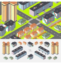 Isometric residential buildings vector