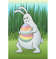 Rabbit with easter egg vector