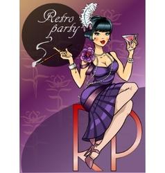 Retro party poster design vector
