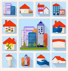 0415 14 house color icon set v vector