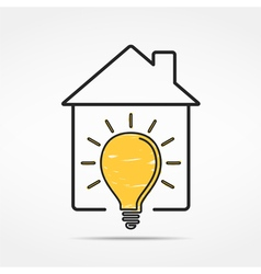 House with light bulb vector