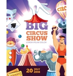 Retro poster with of circus vector