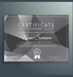 Abstract gray black certificate template vector