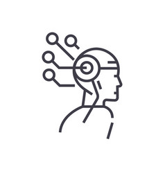 artificial intelligence head thinking concept vector image