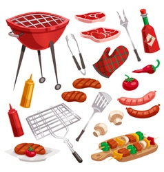 Bbq grill elements set vector