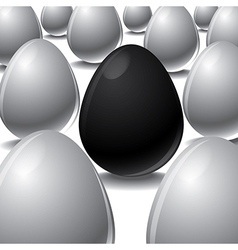 black egg Among white eggs concept vector image