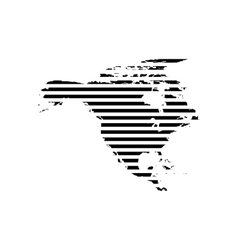 Black linear symbol of north america map on white vector