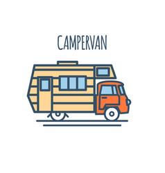 Campervan thin line flat design vector
