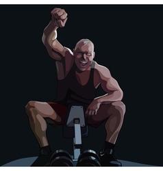 Cartoon happy man sitting on sports equipment vector