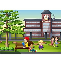 Children hanging out at the school ground vector image vector image