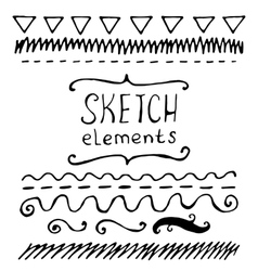 Collection of hand drawn sketched elements vector image vector image