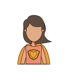 Colorful caricature faceless half body super woman vector