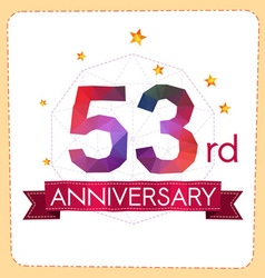 Colorful polygonal anniversary logo 2 053 vector
