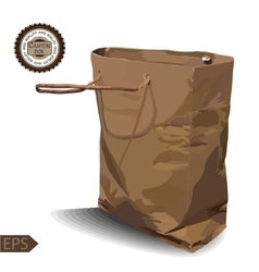 Craft Paper Shopping Bag on a white background vector image