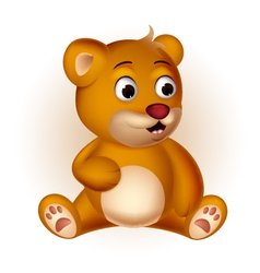 cute Bear cartoon sitting vector image
