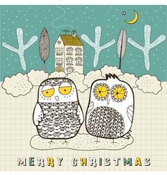 Doodle owls christmas card vector