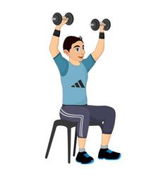 exercising man lifting dumbells vector image vector image