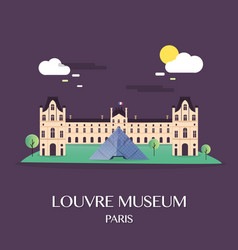 famous landmark louvre museum paris france vector image