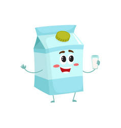 funny cute milk box character with a shy smile vector image