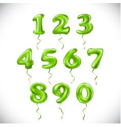 Green number 1 2 3 4 5 6 7 8 9 0 metallic balloon vector