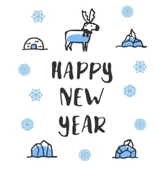 Happy new year poster with lettering funny doodle vector