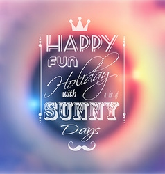 Happy summer poster with a colorful sunset blurred vector