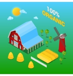 Isometric Farm Building with Organic Plant vector image vector image